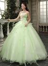 Timeless Strapless Cascading Ruffles Flowers Floor Length Quinceanera Dress