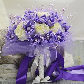 Exquisite Purple Cloth Rose Flowers Pearl Bridal Bouquet