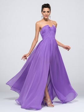 Elegant Front-Split Strapless Floor-length Zipper-Up Evening Dress