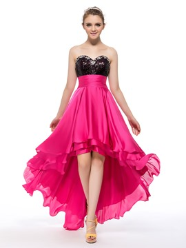 Schatz High-Low Länge Pailletten Ballkleid