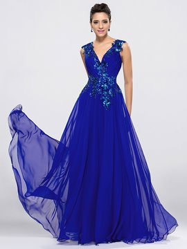 Elegant Sexy V-Neck A-Line Applique Floor Length Evening Dress