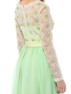 Attractive A-Line Jewel Neck Beaded Long Sleeves Lace Homecoming Dress