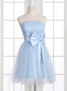 Epidemic A-line Strapless Bow Lace Up Homecoming Dress