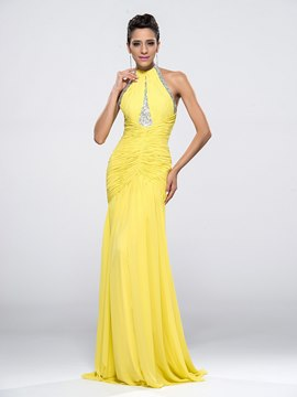Greatest Halter Full Length Beaded Ruffles Evening Dress