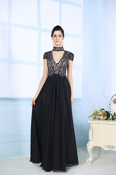 Graceful Lace Appliques Floor Length Prom/ Evening Dress