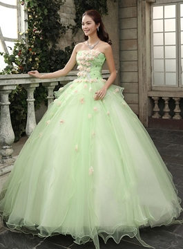 df6d6d2f5c Timeless Strapless Cascading Ruffles Flowers Floor Length Quinceanera Dress