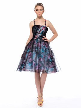 Stylish A-Line Straps Flowers Print Party/Homecoming Dress