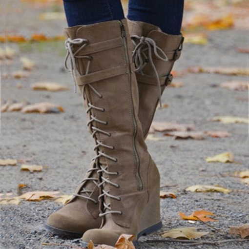 Ericdress Lace Up Wedge Knee High Boots