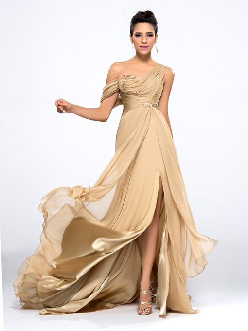 Ericdress A-Line One-Shoulder Evening Dress With Appliques And Beading