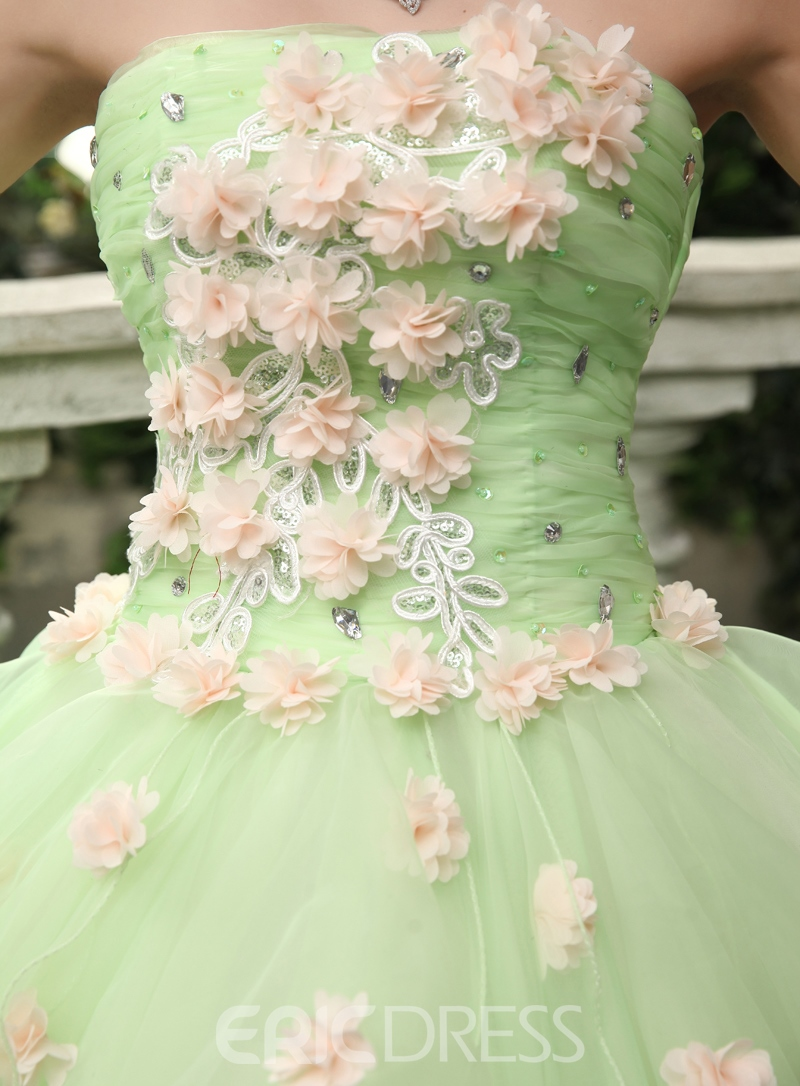 1b8963c9233 Timeless Strapless Cascading Ruffles Flowers Floor Length Quinceanera Dress