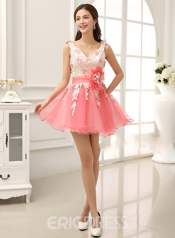 Gfirst-class Straps V-Neck Lace Up Flower Cocktail/Homecoming Dress