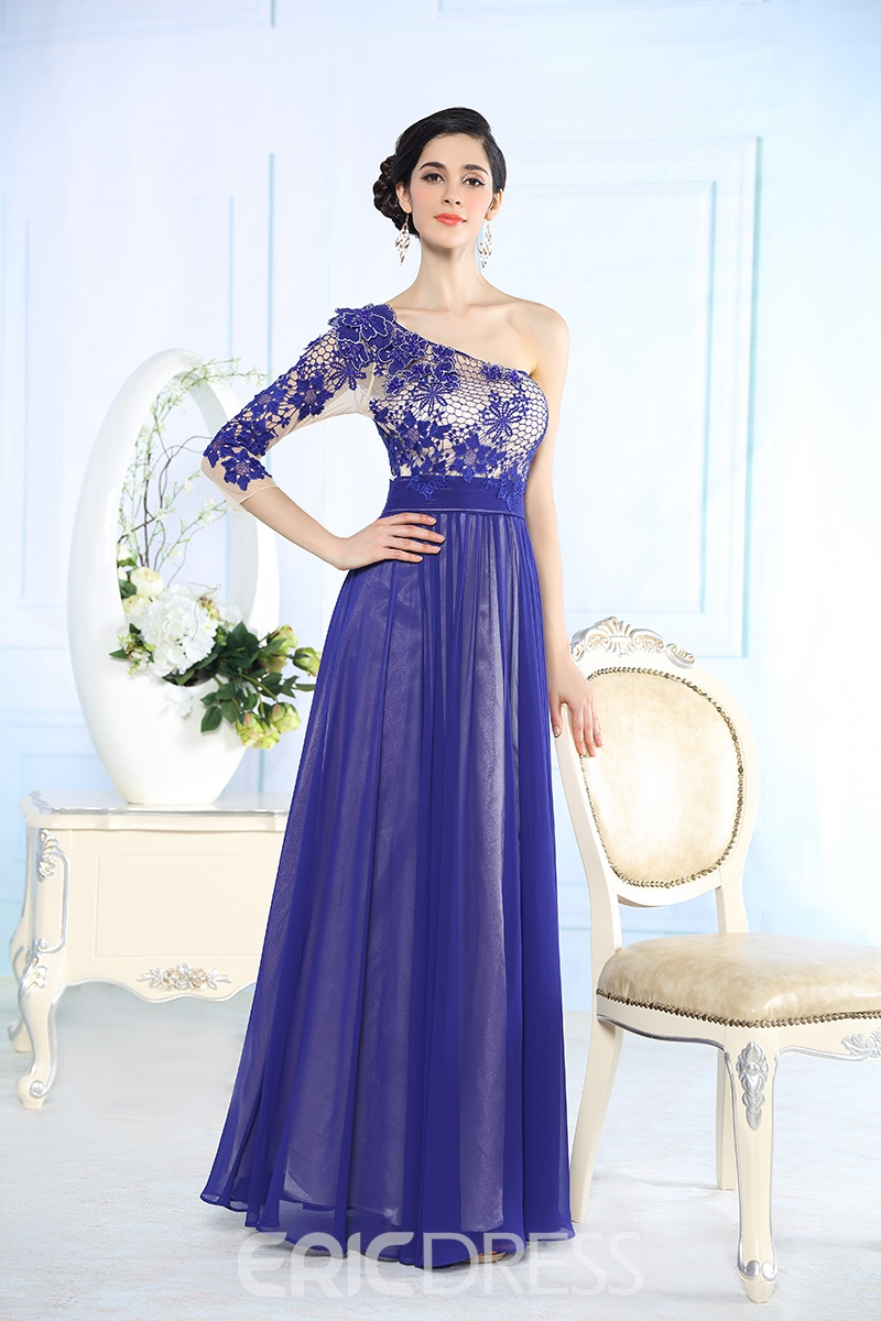 One Sleeve Appliques Floor Length Prom/ Evening Dress
