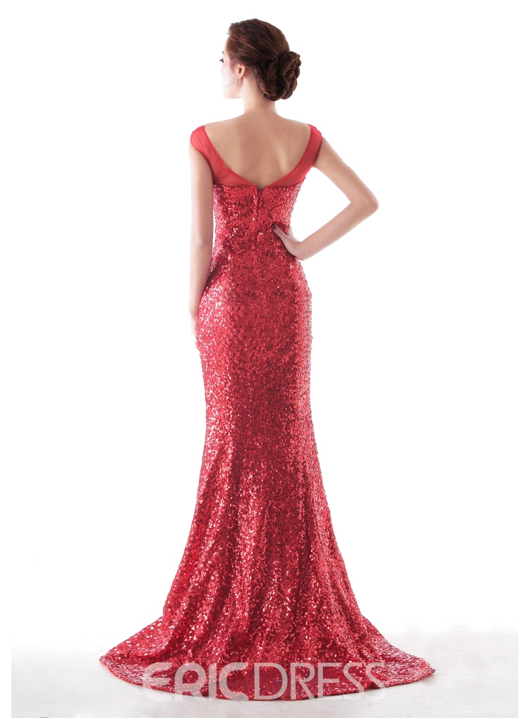 Gorgerous Mermaid Cap Sleeve Sequins Sweep Train Evening Dress