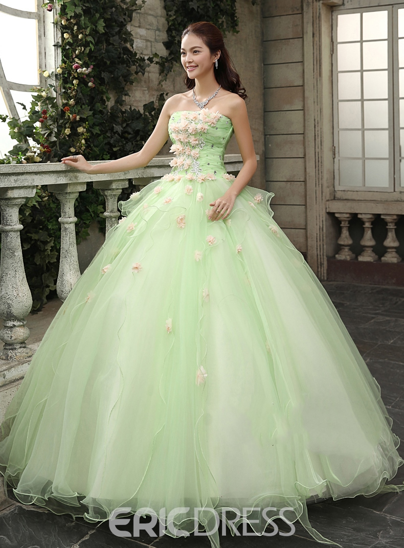 6160b859a1b Timeless Strapless Cascading Ruffles Flowers Floor Length ...