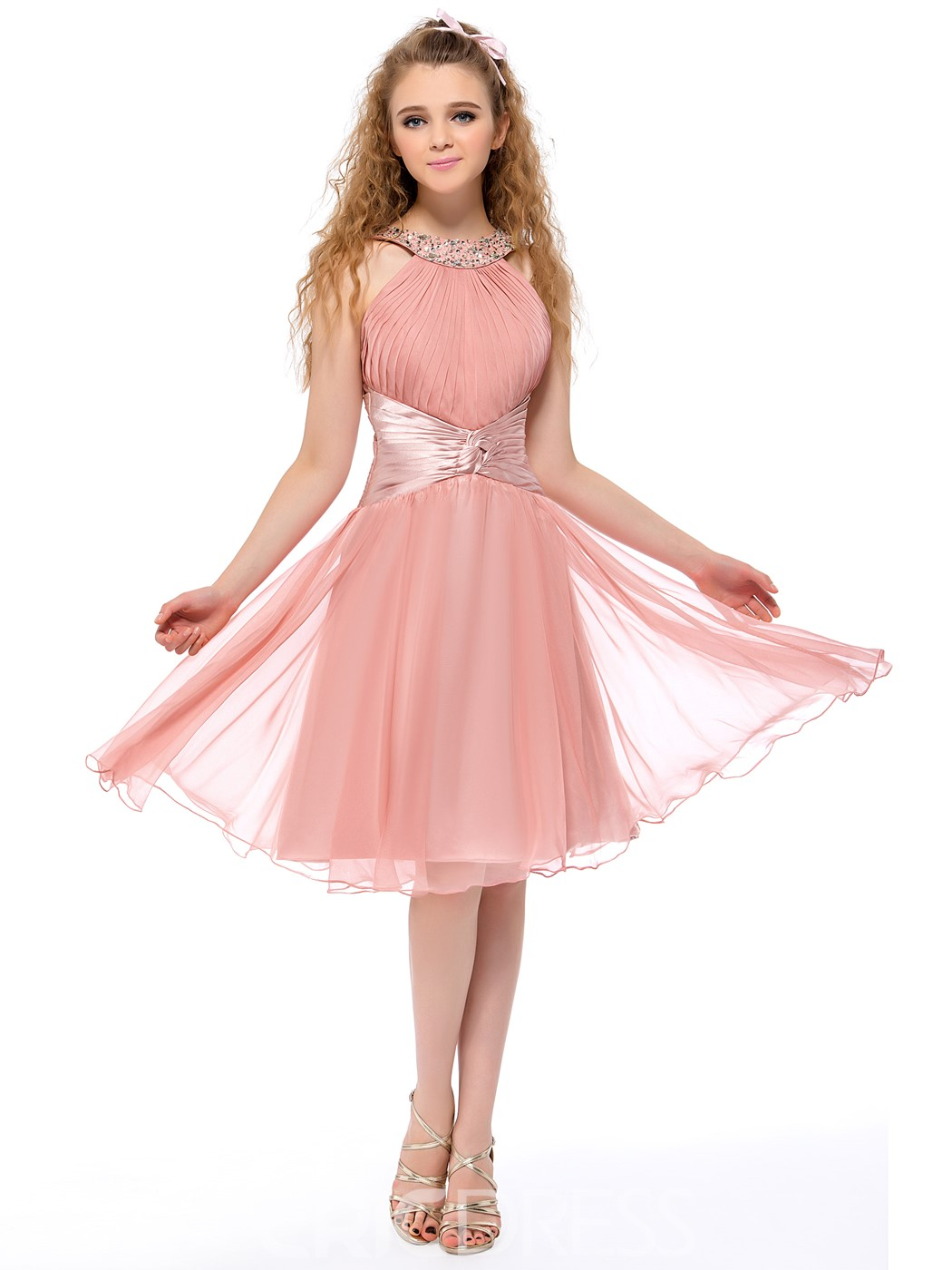 Pretty A-Line Beading Straps Knee Length Homecoming Dress