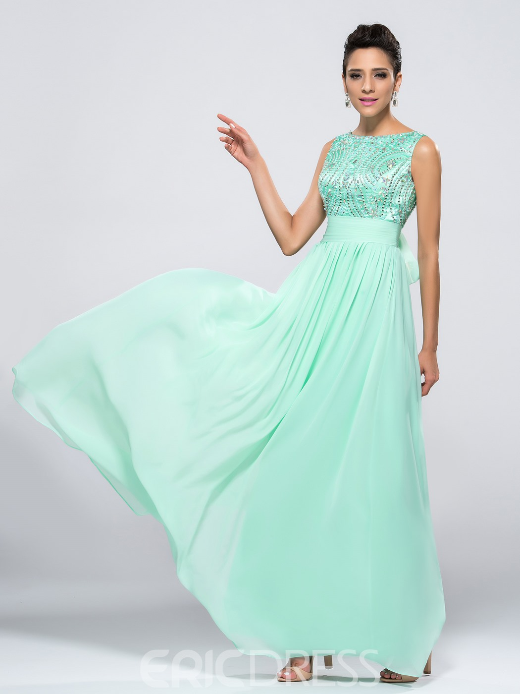 Fashion A-Line Bateau Sleeveless Bowknot Beaded Prom Dress