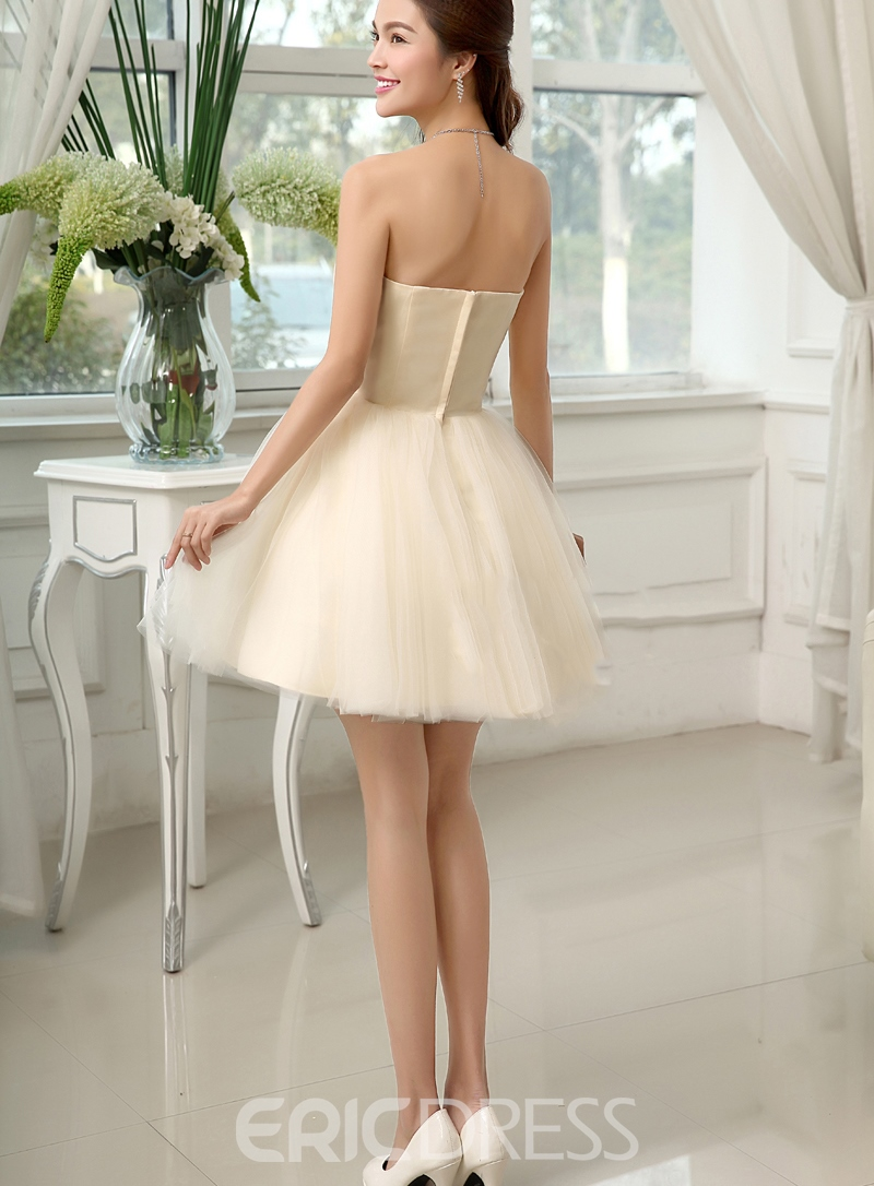 Vogue A-Line Sweetheart Zipper Up Tulle Beading Cocktail/Homecoming Dress