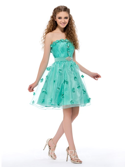 Charming A-line Strapless Flowers Homecoming Dress