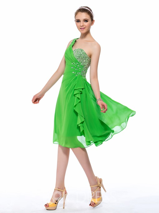 Ericdress One Shoulder Strap A-Line Homecoming Dress In Knee Length