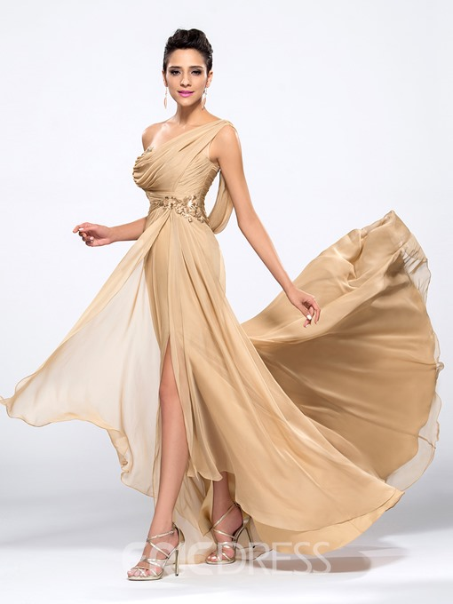 Ericdress One Shoulder Sequins Draped Evening Dress