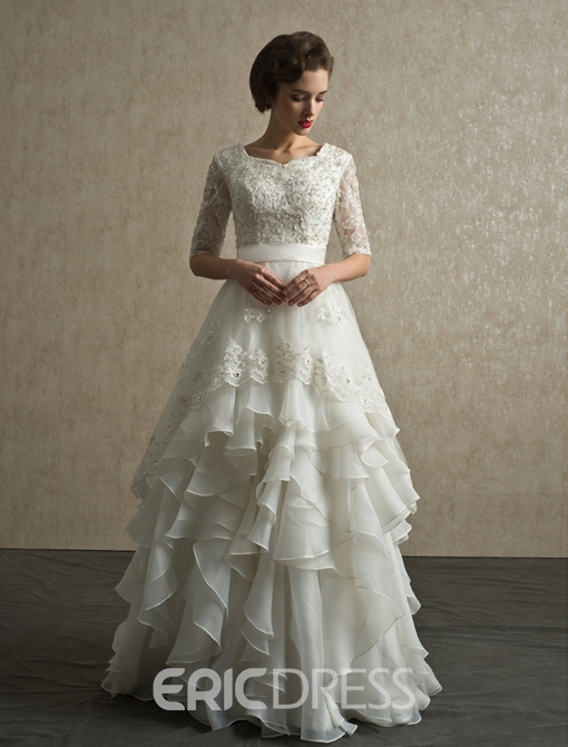 Ericdress Half Sleeves Appliques Ruffles Wedding-Dress
