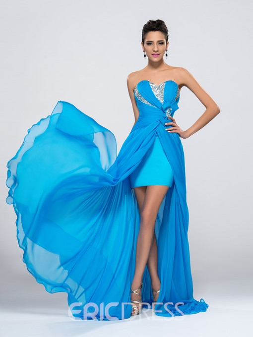 Sweetheart Chiffon Split Front Beading Bodice Evening Dress