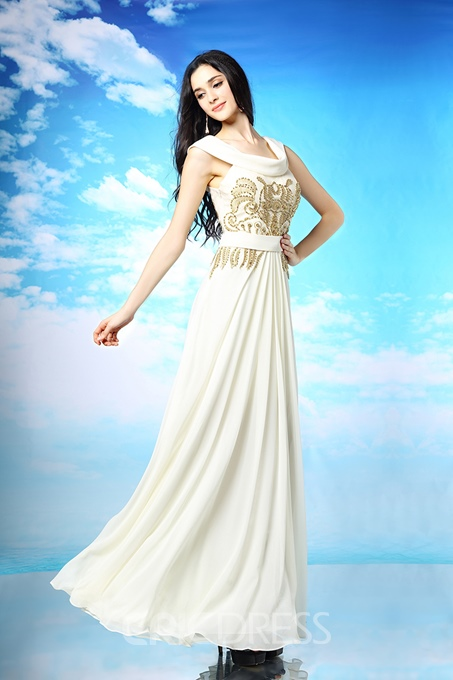 Ericdress Pretty A-Line Scoop Beading Embroidered Evening Dress