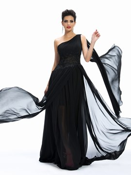 Superior One-Shoulder Lace A-Line Ruffle Evening Dress