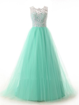 Ericdress A-Line Scoop Neck Lace Tulle Prom Dress