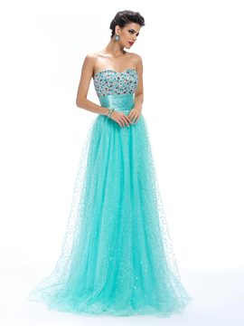 Alluring A-Line Sweetheart Beading Empire Long Prom Dress