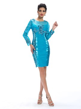 Elegant Sequins Column Long Sleeves Applique Mother Dress