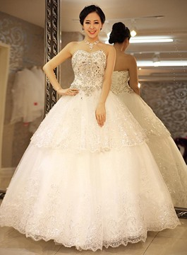 Ball Gown Sweetheart Rhinestone Wedding Dress
