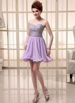 Vogue Sweetheart Ruffles perles Homecoming/Cocktail Dress