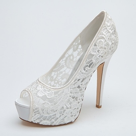 Ericdress Lace Slip-On Peep Toe Women's Pumps
