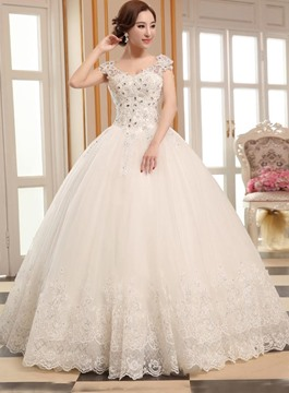 Ball Gown Appliques Cap Sleeves Charming Wedding Dress