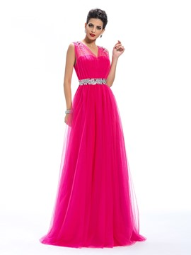 Charming V-Neck Beading A-Line Floor-Length Prom Dress