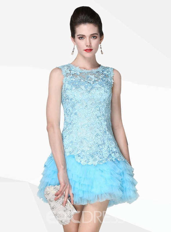 Ericdress dentelle a-ligne courte à capuche-Up Homecoming robe
