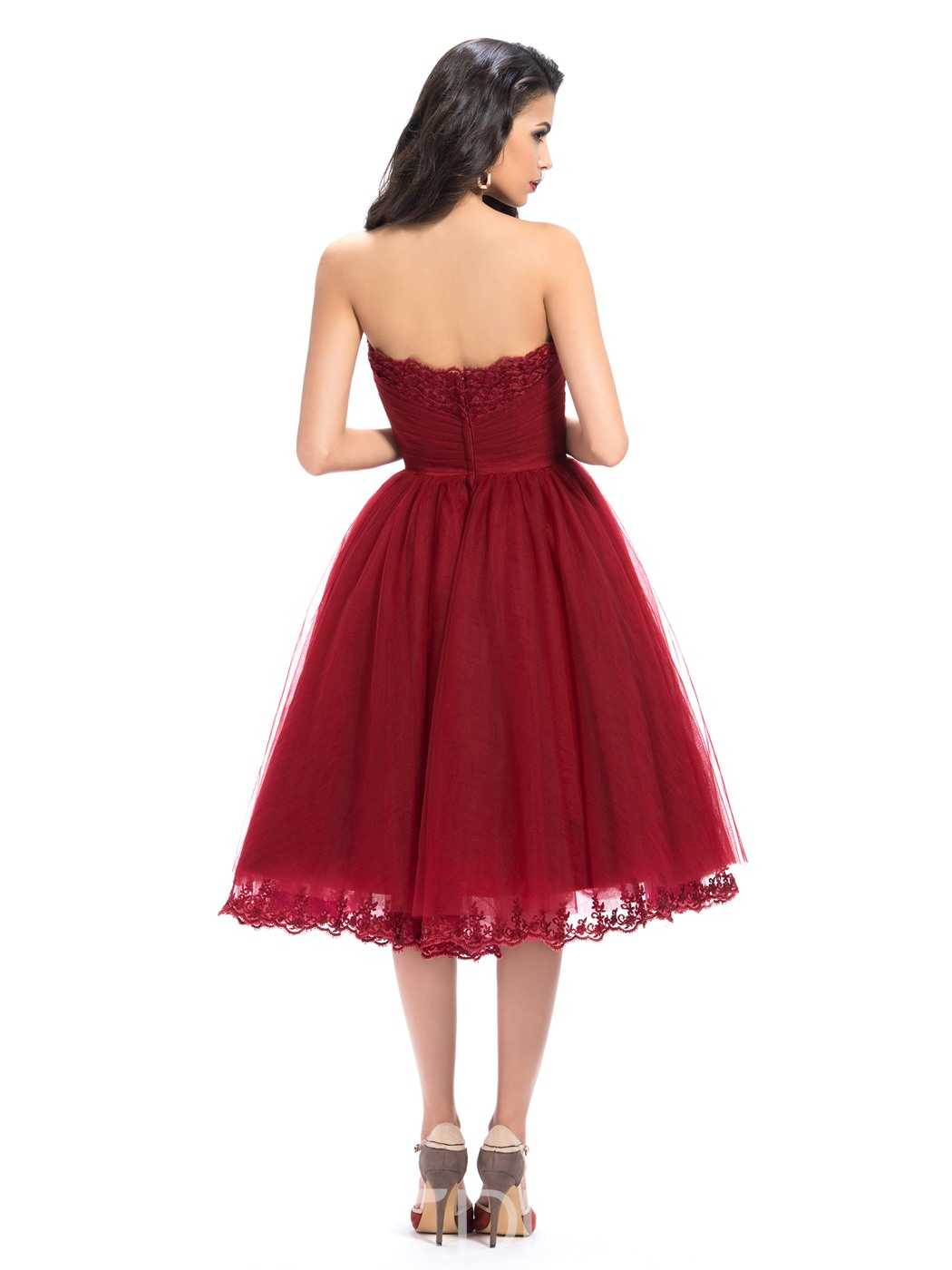 Glamour Strapless Appliques A-Line Tea-Length Homecoming Dress