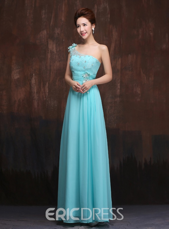 Elegant A-Line One Shoulder Lace Bridesmaid Dress
