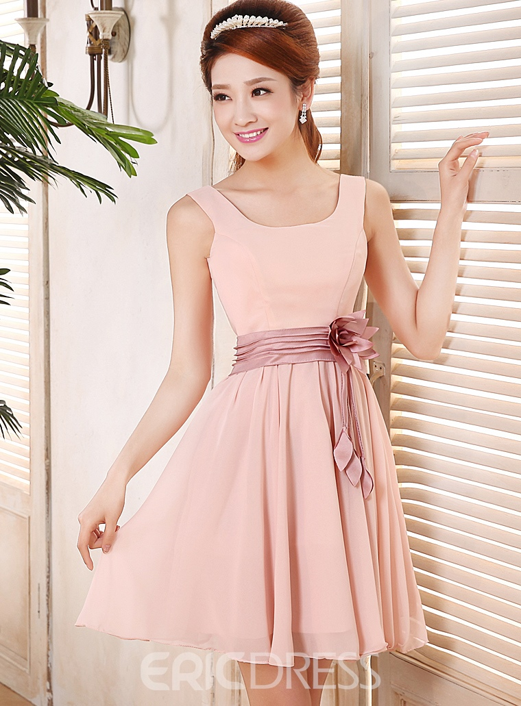 Pretty A-Line Square Straps Short Bridesmaid Dress