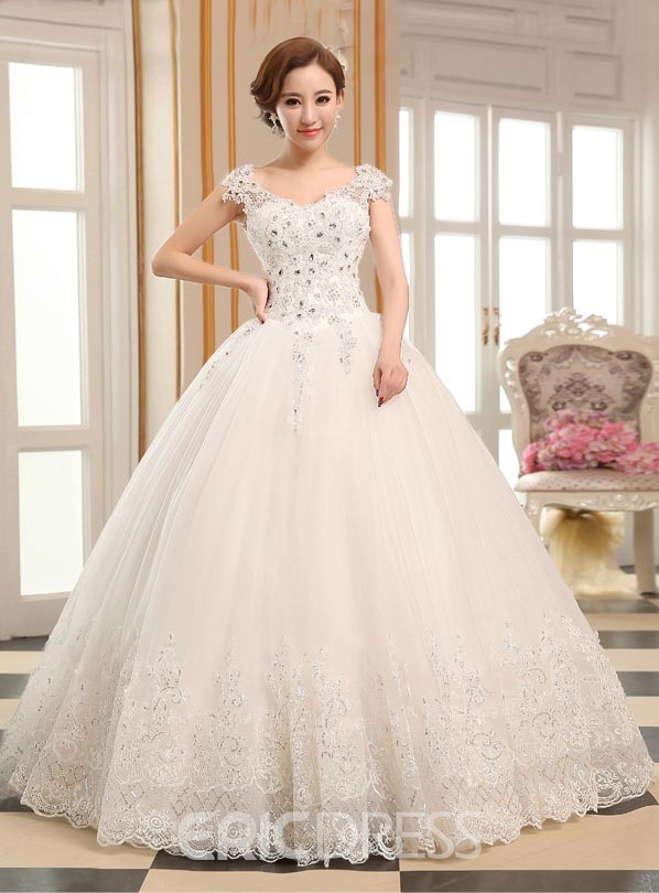 Ericdress Appliques Beading Cap Sleeves Ball Gown Wedding Dress