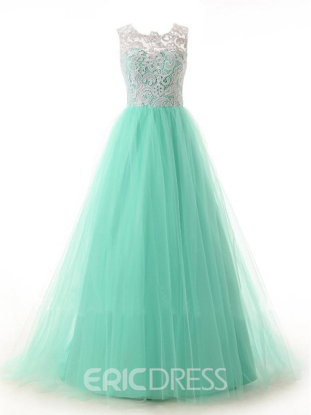 A-Line Scoop Neckline Lace Sleeveless Floor-length Tulle Prom Dress