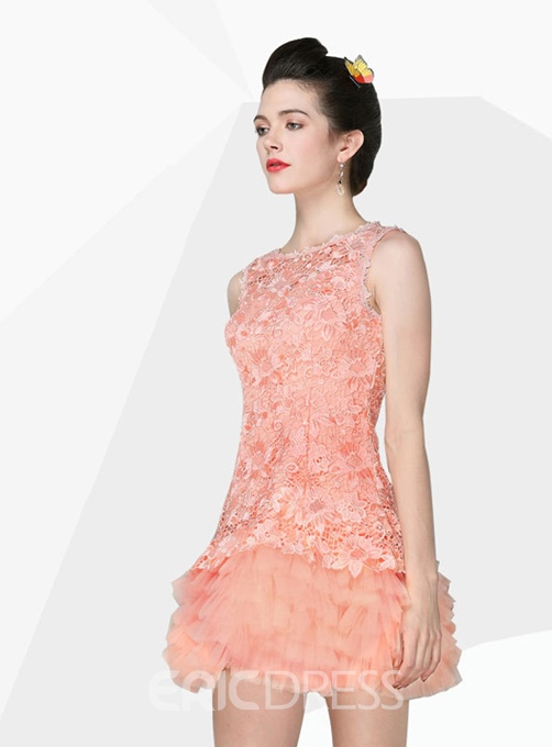 Ericdress Lace A-Line Short Zipper-Up Homecoming Dress