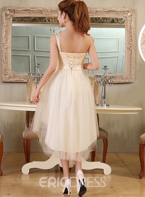 Elegant A-Line One Shoulder Lace Asymmetry Bridesmaid Dress