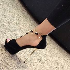 Metal Decoration Ankle Strap Stiletto Sandals