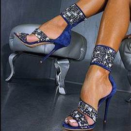 Blue Shining Rhinestone Decoration Stiletto Sandals