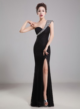Delicate One Shoulder Front-Slit Rhinestones Sequins Evening Dress