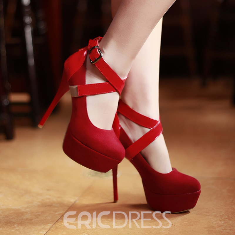 Popular Patchwork Ankle Strap Stiletto Heel Prom Shoes