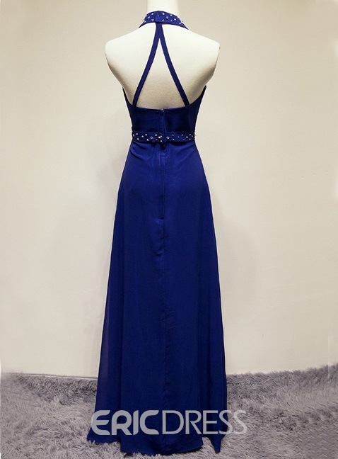 Modernism Halter Full Length Rhinestones Prom Dress