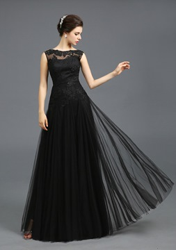 Ericdress Scoop A-Line Appliques Long Evening Dress With Lace-Up Back